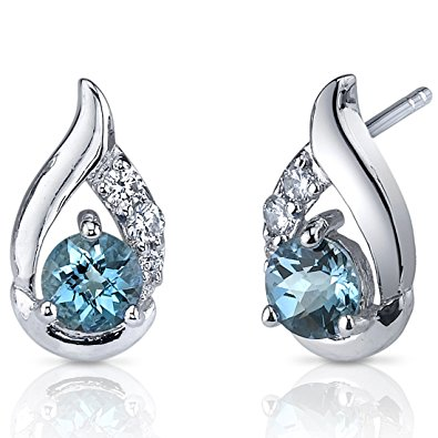 london blue topaz earrings sterling silver checker cut LZOIGAN