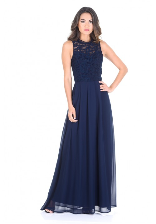 long dress ... navy crochet top chiffon maxi dress witzidx