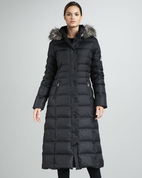 long puffer coat dknylong faux fur-trim puffer coat pirzzig