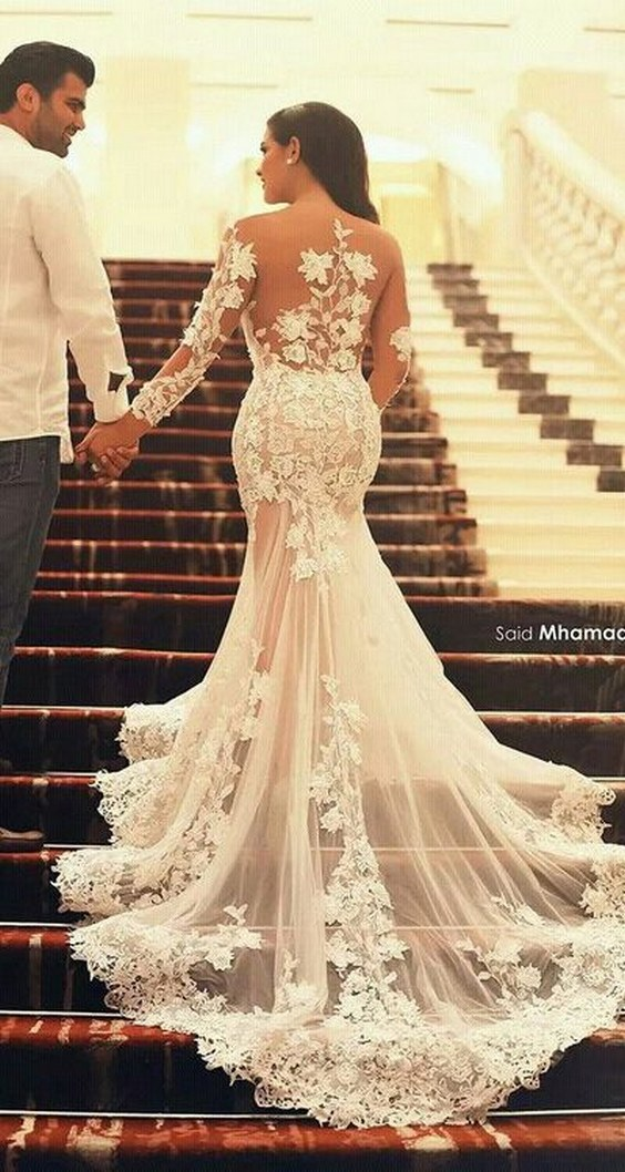long sleeves mermaid lace wedding dress vwhuxql