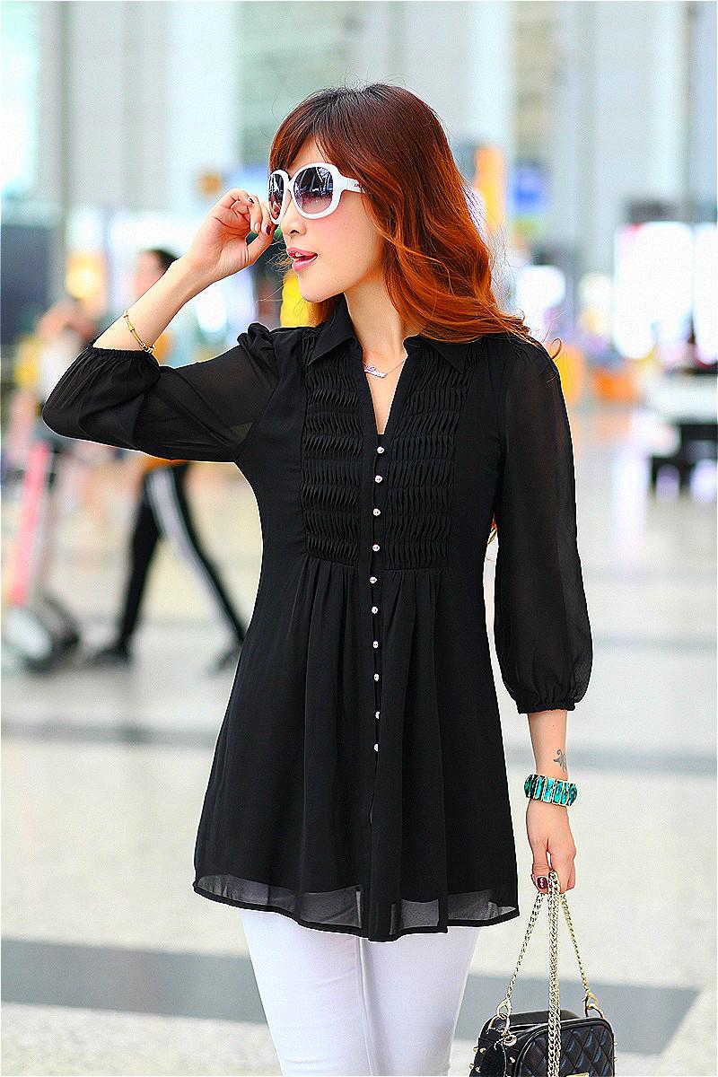 long tunic tops black chiffon blouse tunic oversized shirts 6xl 5xl 4xl xxxxl big size xxxl  korean ispjbxu