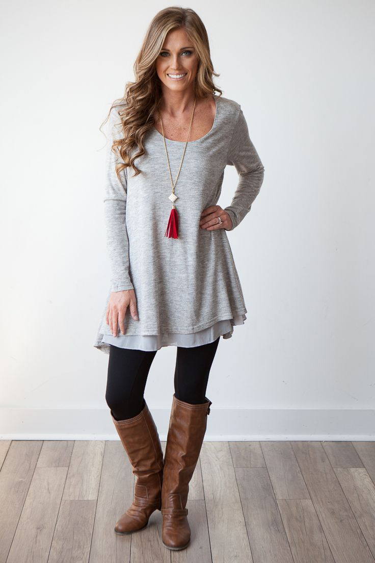 long tunic tops long sleeve layered flare tunic - heather grey - love the cut, would be qtemtkg