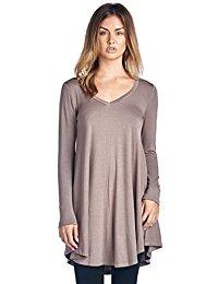 long tunic tops popana womenu0027s tunic tops for leggings - long sleeve vneck shirt - regular  and xasxuxt