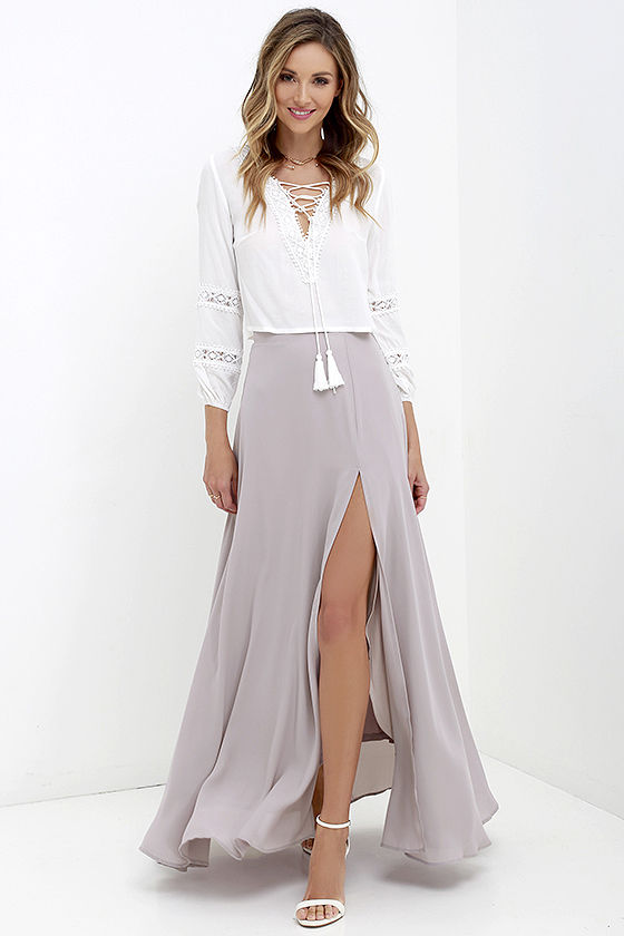 lovely taupe maxi skirt - high-waisted skirt - slit maxi skirt - $49.00 jsiolzv