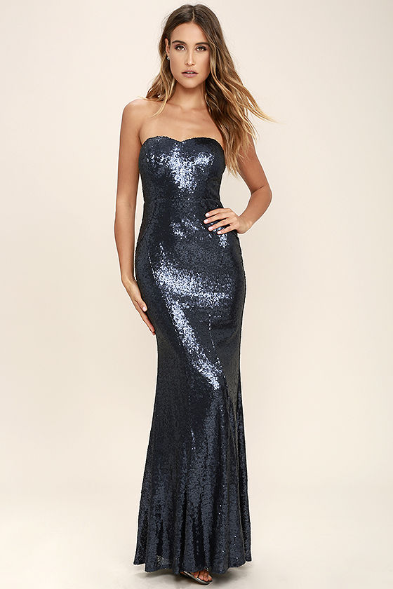 majestic muse navy blue strapless sequin maxi dress 1 bqwqzvh