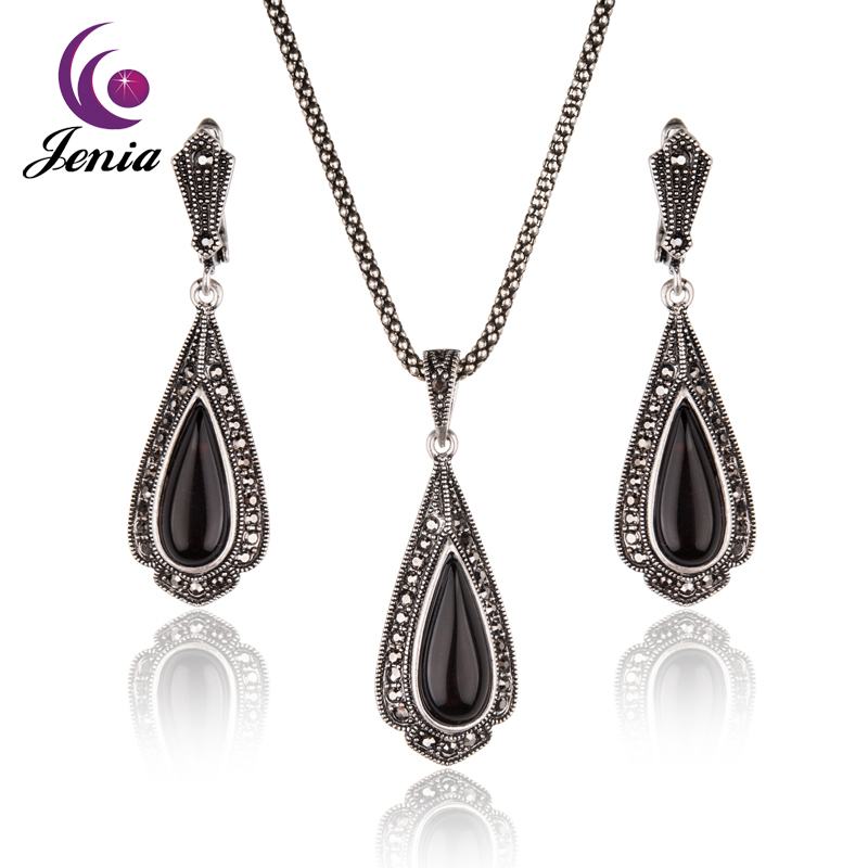 marcasite jewelry jenia design thai silver color black stone water drop earrings and pendant  marcasite costume zfhdyzr
