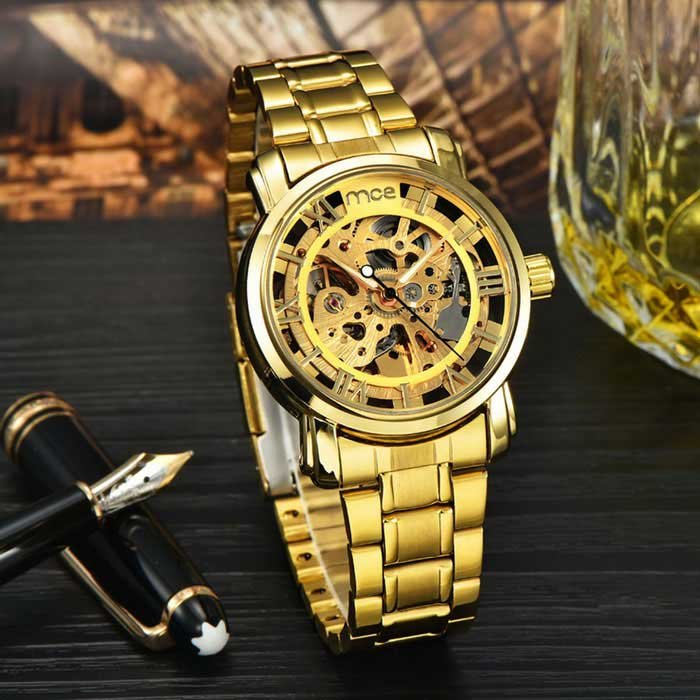 mce 01-0060049 hollow analog full-automatic mechanical watch - golden hbmfyhc