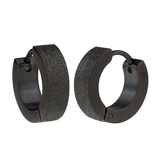 men earrings black stainless steel sandblasted hinged hoop earrings for men znlfdcf