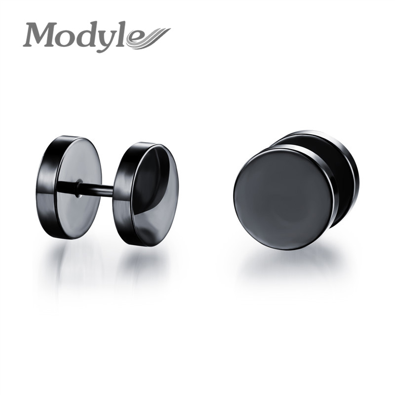 men earrings men fashion accessories dumbbell design stud earring silver / black /  gold-color stainless steel svtdvck