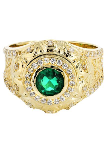 men rings emerald u0026 cz 10k yellow gold mens ring. | 6.6 grams - frostnyc kfuqooc