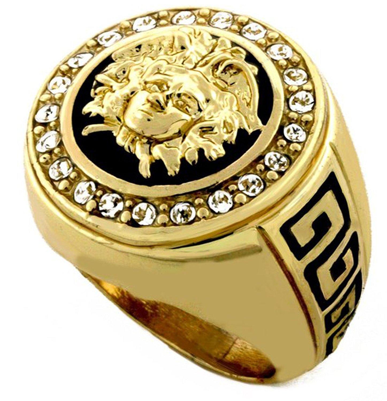 men rings hip hop medusa head gold tone men ring #2 kkrlytq