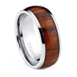 men rings oliveti menu0027s dome titanium ring with real santos rosewood inlay comfort  fit ring qufrzsk