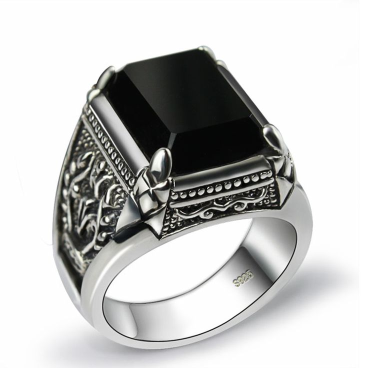 men rings sales for 925 sterling silver ring man retro jewelry obsidian mens ring  jewelry outlet wyjaaqq