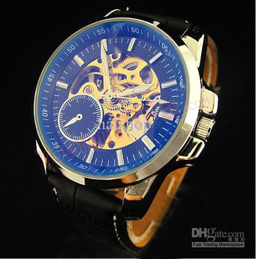 menu0027s mechanical automatic watch hot! men face automatic leather band wrist watch  watches ... QIXXWXO