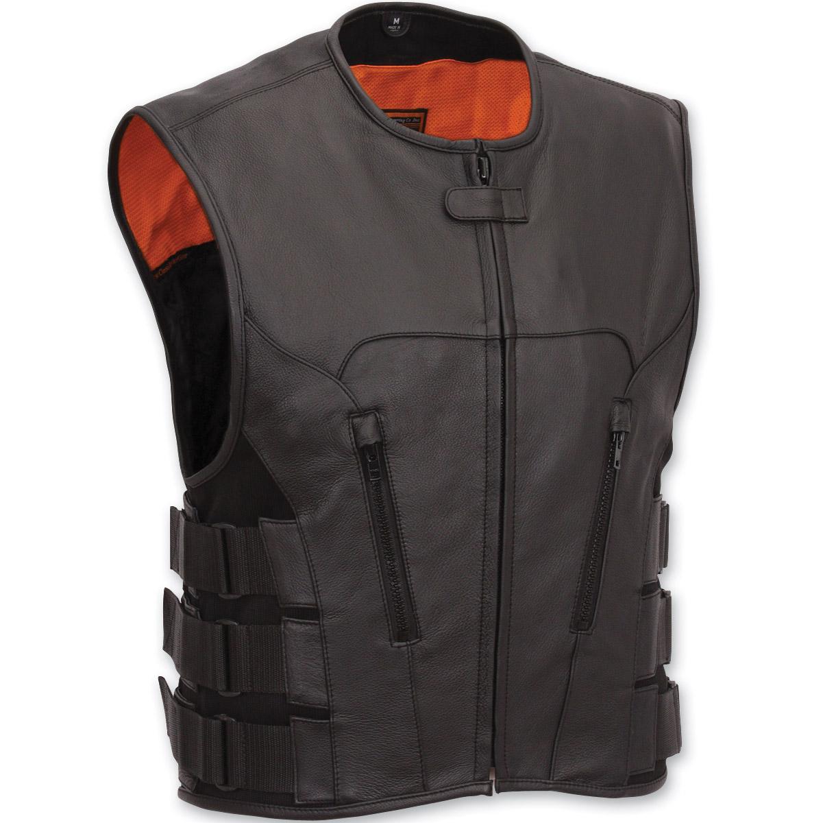 menu0027s swat team style leather vest vdtdcmm