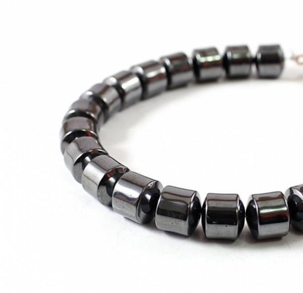 mens bracelet, hematite jewelry for men, gray stones sdzeaux