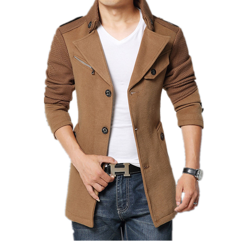 mens coat 2015 brand winter jacket coat men turnd-down collar slim fit mens pea coat  khaki iulhxud