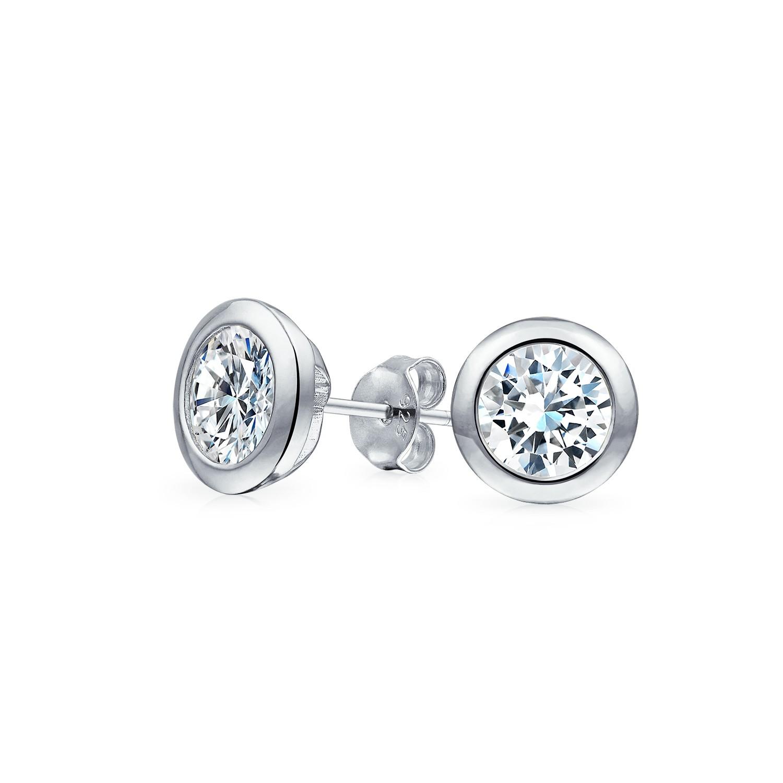 mens cz martini set bezel sterling silver stud earrings eqvgxsr