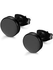 mens earrings fibo steel stainless steel black stud earrings. utqtsym