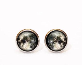 mens earrings full moon stud earrings, tiny stud earrings, space jewelry, moon earrings,  mens zhnyywb