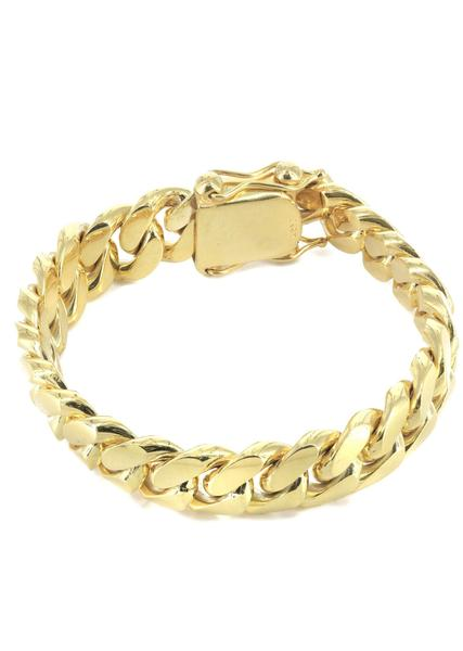 mens gold bracelets solid mens miami cuban link bracelet 10k yellow gold - frostnyc gvznclo