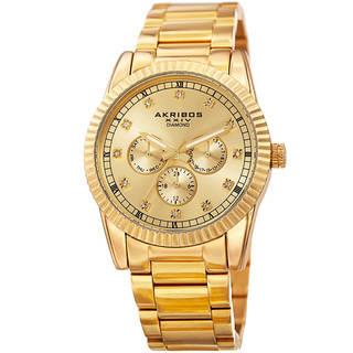 mens gold watches akribos xxiv menu0027s quartz diamond multifunction stainless steel gold-tone  bracelet watch jpwdvtr