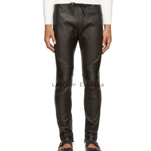 mens leather pants drawstring fastening men leather classic track pants hepqowy