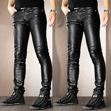 mens leather pants mens punk motorcycle leather leisure trousers skinny slim fit casual jeans  pants dmjtksm
