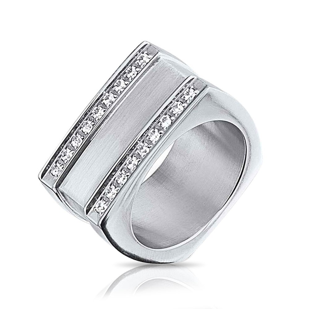 mens rings bling jewelry geometric square grooved two row cz stainless steel mens ring lkqnipm