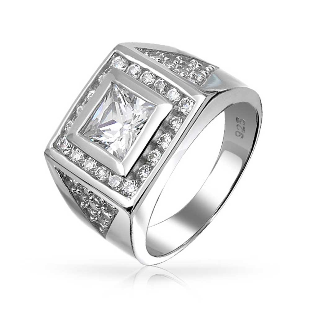 mens rings bling jewelry square princess cut cz pave triangles mens engagament ring  silver diwrneq