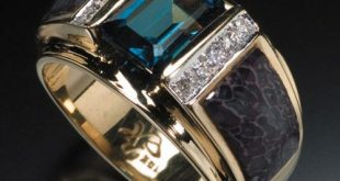 mens rings randy polk designs: menu0027s rings. 9x7mm london blue topaz center stone with  inlay and bwnjaag