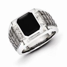 mens silver rings onyx xtfzgdg