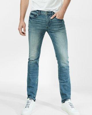 mens stretch jeans ... slim medium wash 4 way stretch jeans aaizxhj