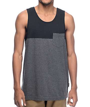 mens tank top zine black u0026 charcoal blocked pocket tank top lwpiqmh