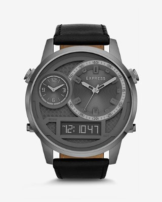 mens watches ... extra large analog and digital leather strap watch hlgvmhw