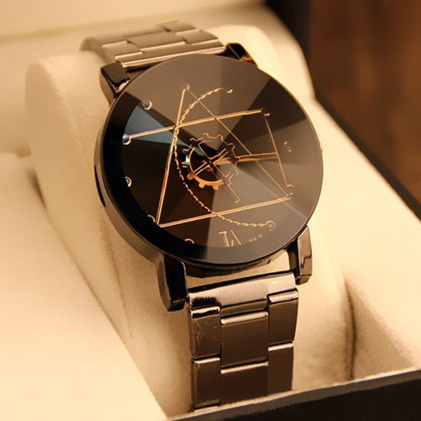 mens watches gear geometric steel band quartz watch - black lvmxiuj