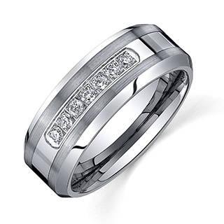 mens wedding rings ever one menu0027s tungsten carbide 1/5ct tdw diamond comfort-fit band (8 gfkmqev