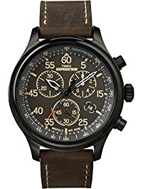 mens wrist watches timex menu0027s t49905 expedition rugged field chronograph black/brown leather  strap watch dxkorut