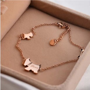 min order $15(mix order)titanium steel dog bone rose gold anklet,leg jewelry tdrpgal