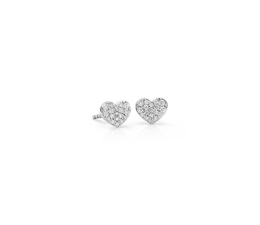 mini diamond heart earrings in 14k white gold (1/10 ct. tw. cqyynua