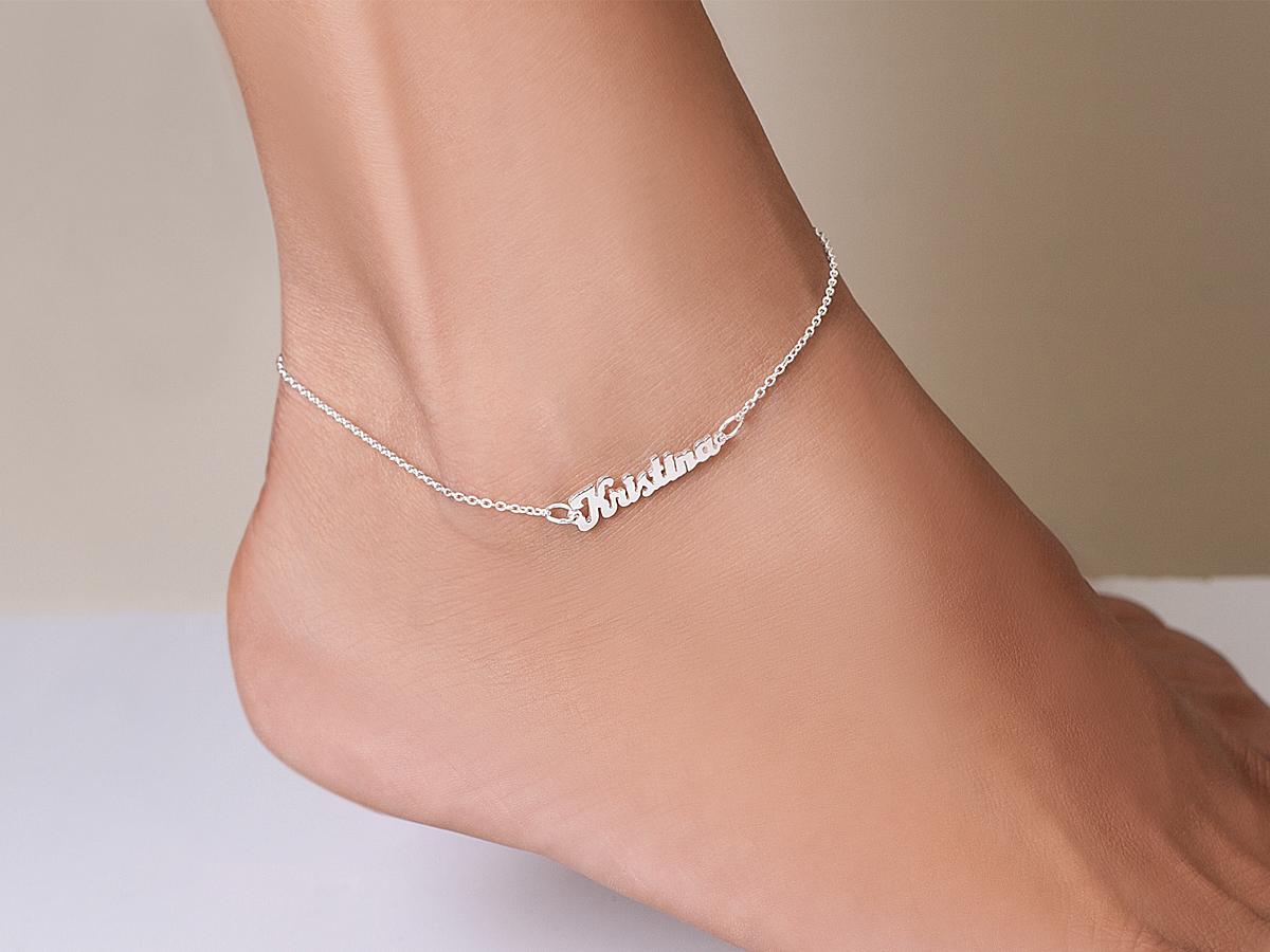 mini name plate ankle bracelets UCGEBKP