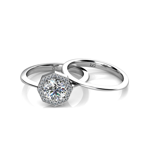 modern engagement rings modern engagement set with octagonal halo engagement ring cyxyxao