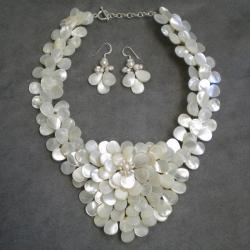 mother of pearl jewelry handmade mother of pearl and pearls exquisite focus jewelry set (3-8 mm)  (thailand) qglemdg