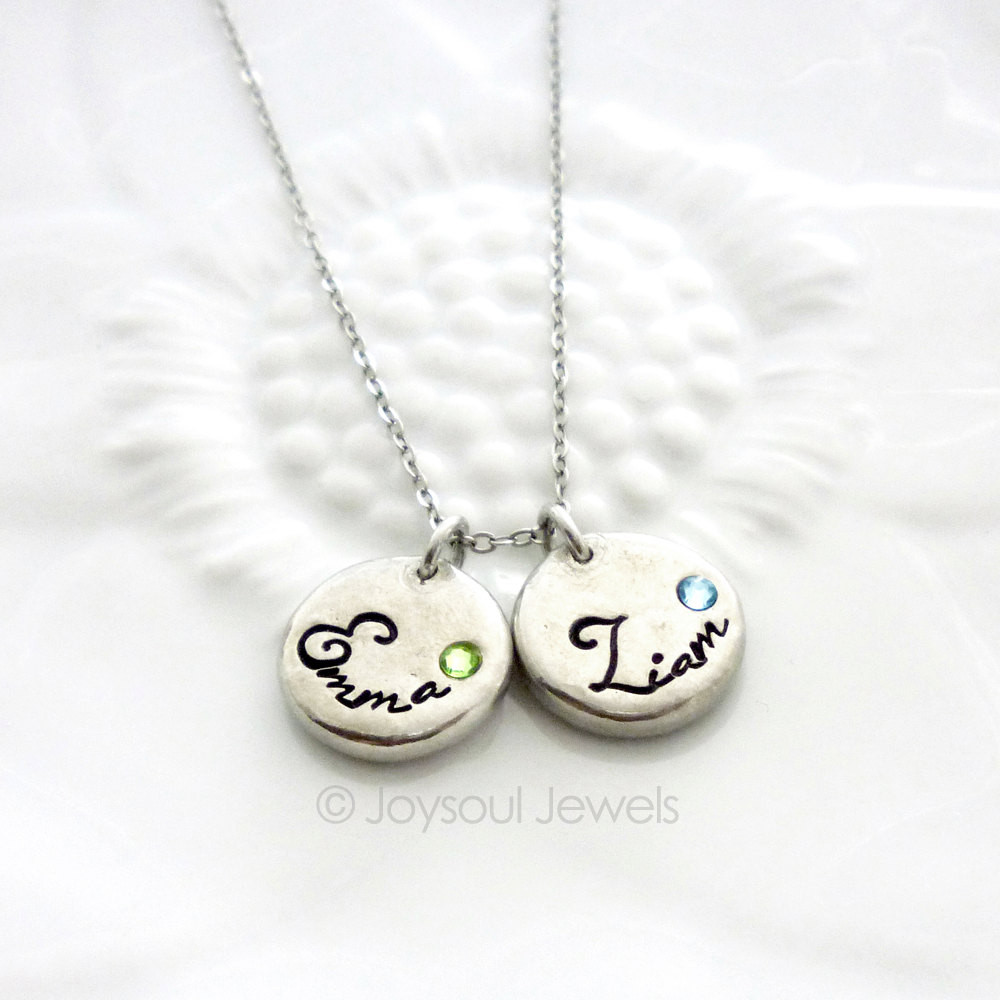 mothers jewelry dainty birthstone name necklace - motheru0027s jewelry - hand stamped jewelry -  childu0027s name ztduxdn