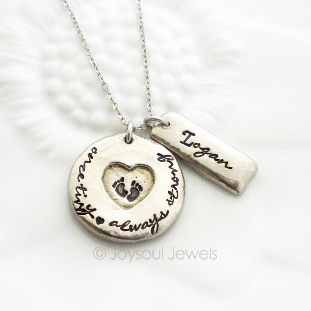 mothers jewelry once tiny always strong personalized necklace - preemie mom necklace -  custom hand stamped fgockuz