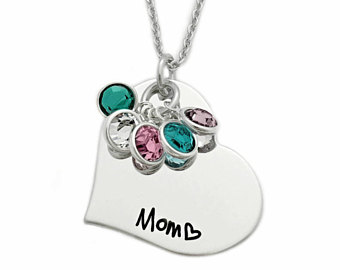mothers jewelry personalized mom heart birthstone necklace - engraved jewlery - mom necklace  - mother jewelry uydtaud