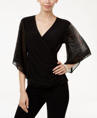 msk embellished chiffon blouse ryqcvzk