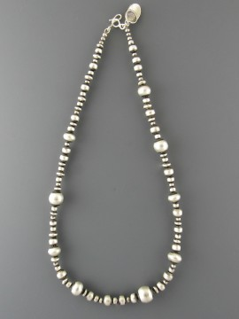 multi size silver bead necklace xeropyt