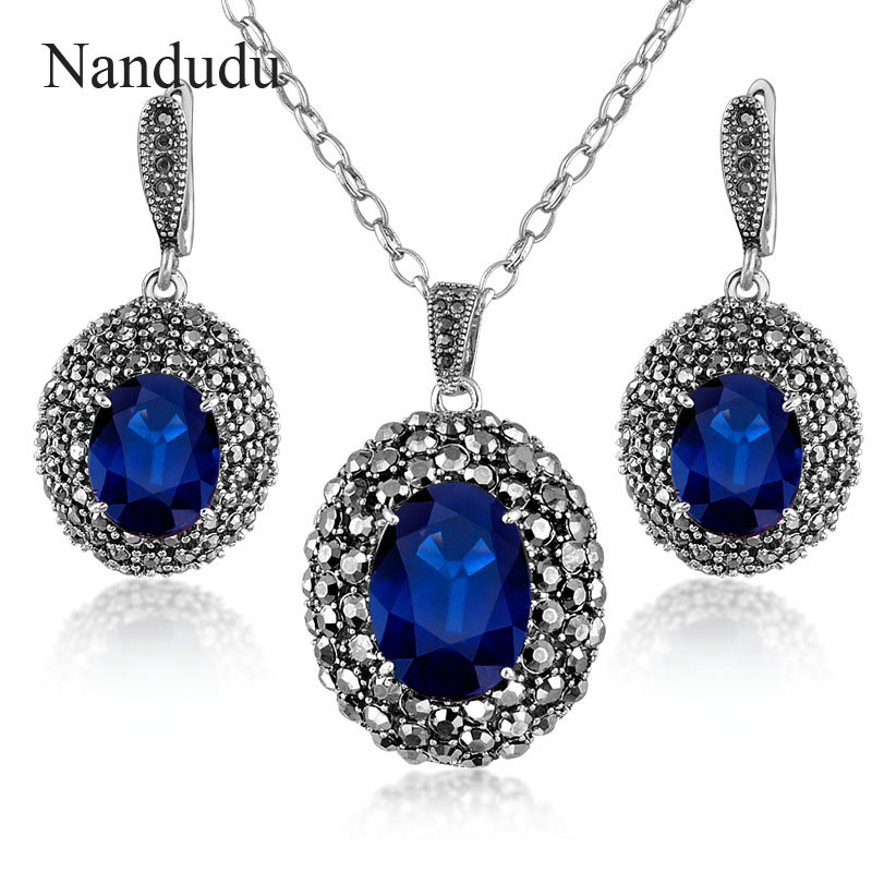 nandudu retro marcasite jewelry set blue crystal pendant necklace earring  white gold color chain lshzjib