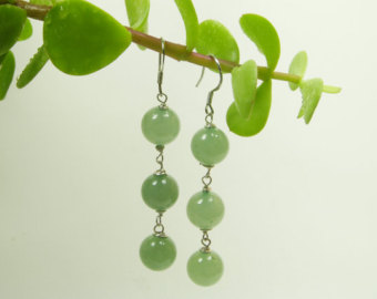 natural green jade earrings/ natural color jade dangle earrings/ sterling  silver jade/ lucky nzafppo